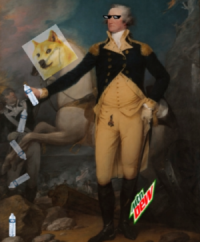 An undoctored image of Goerge Washington flipping a water bottle.