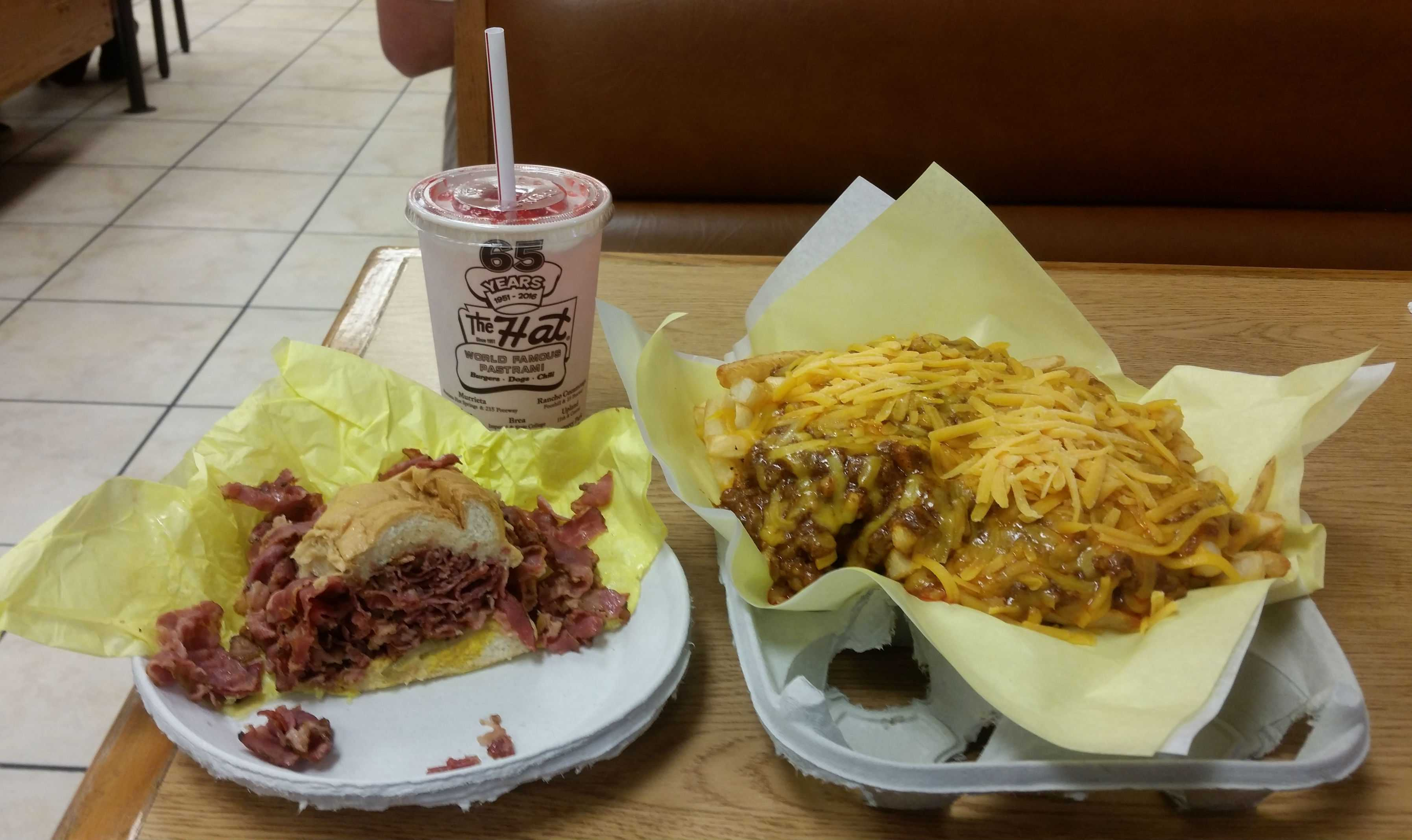 World famous pastrami sandwich and chili cheese fries from the Hat.