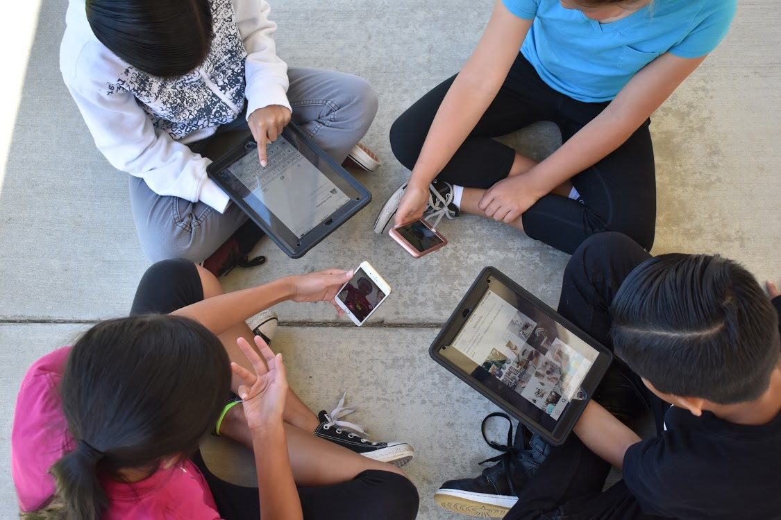 Current technology allows students to use electronics for both studying and fun.