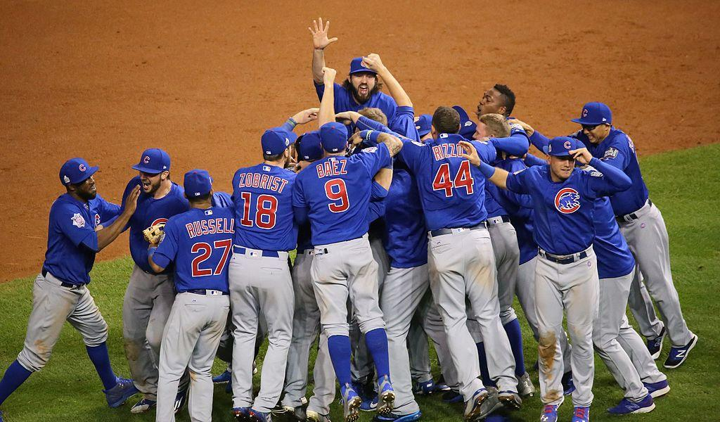 Cubs players celebrate after they win the World Series.