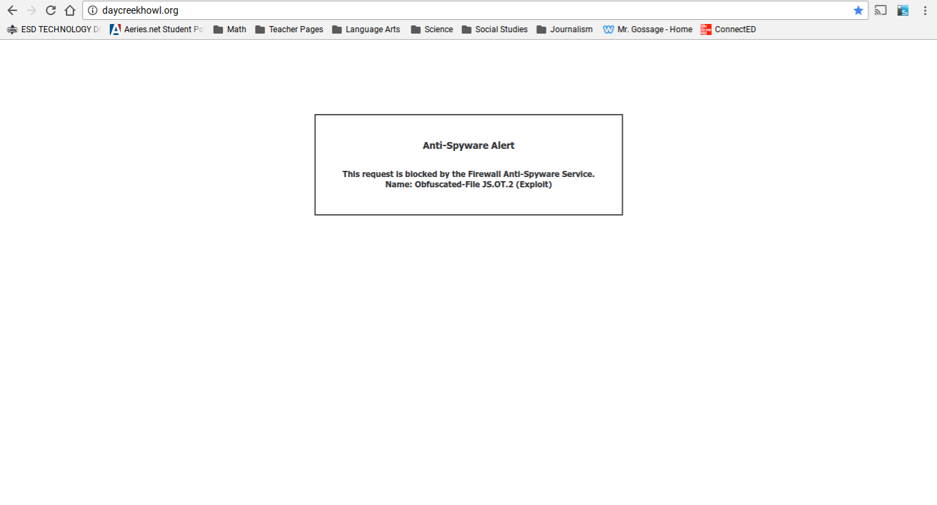 The Day Creek Howl, school news site of Day Creek Intermediate School, crashes as a result of an Anti-Spyware Alert.