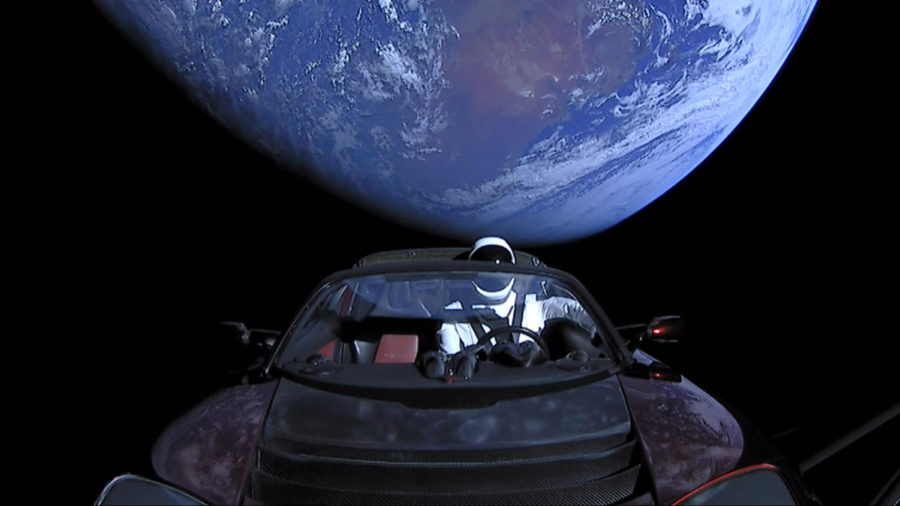Elon+Musk+strapped+his+own+Tesla+Roadster+onto+the+most+powerful+rocket+launched+from+US+soil+since+the+1970s.
