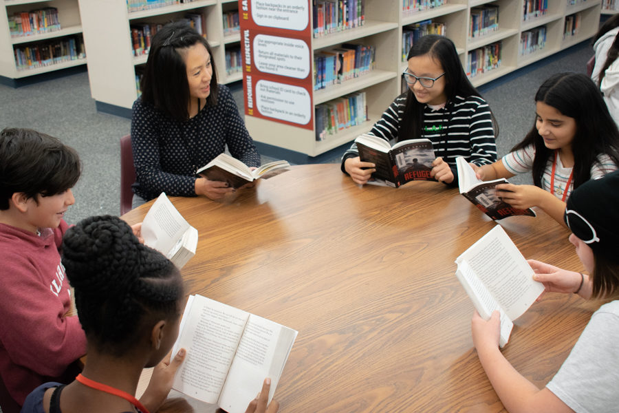 Mrs.+Choi+and+students+in+the+vook+club+are+reading+%22The+Refugee+.%22