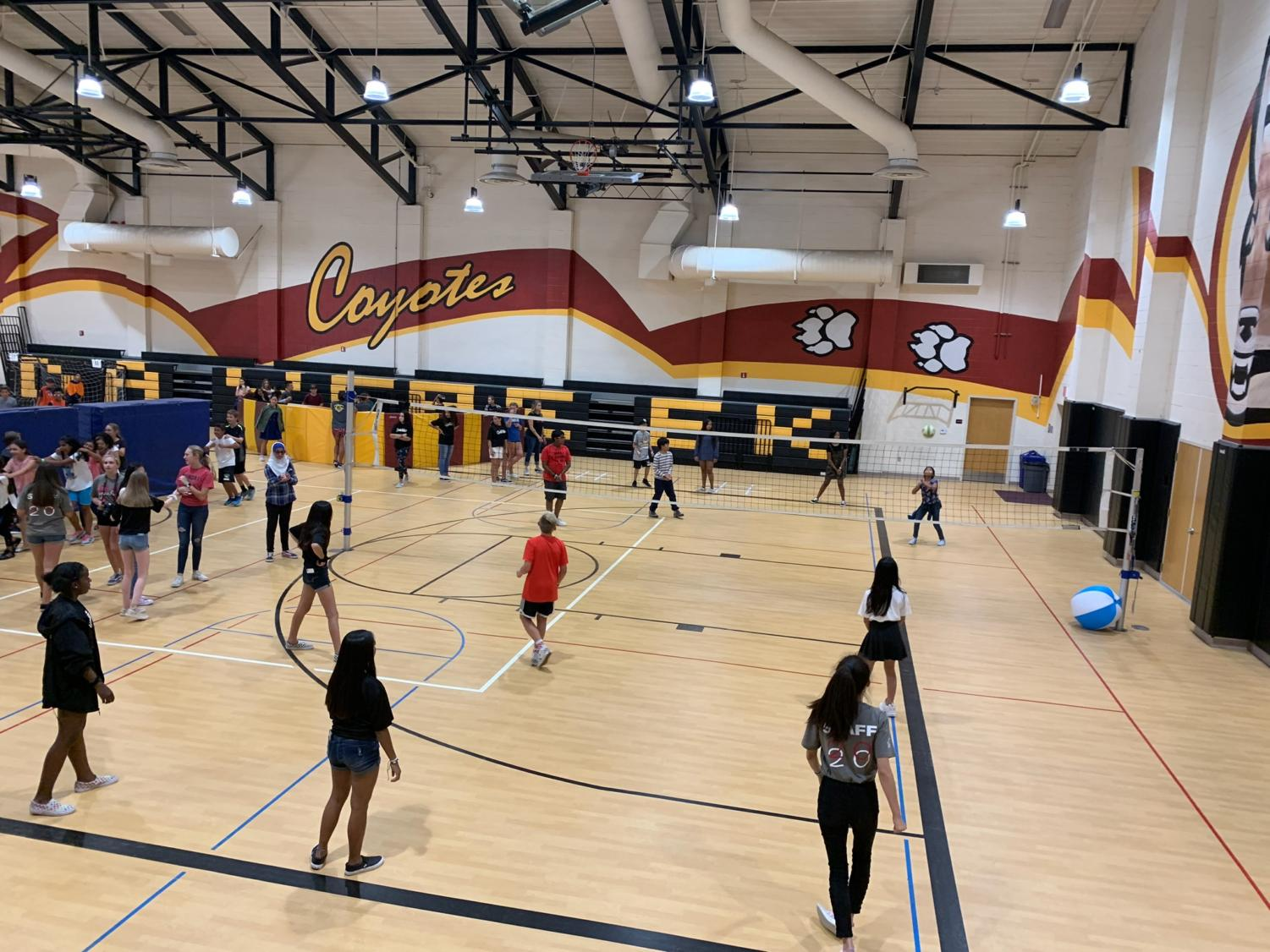 Students play volleyball, dance around, and play Cage Match at Gym-a-Palooza.