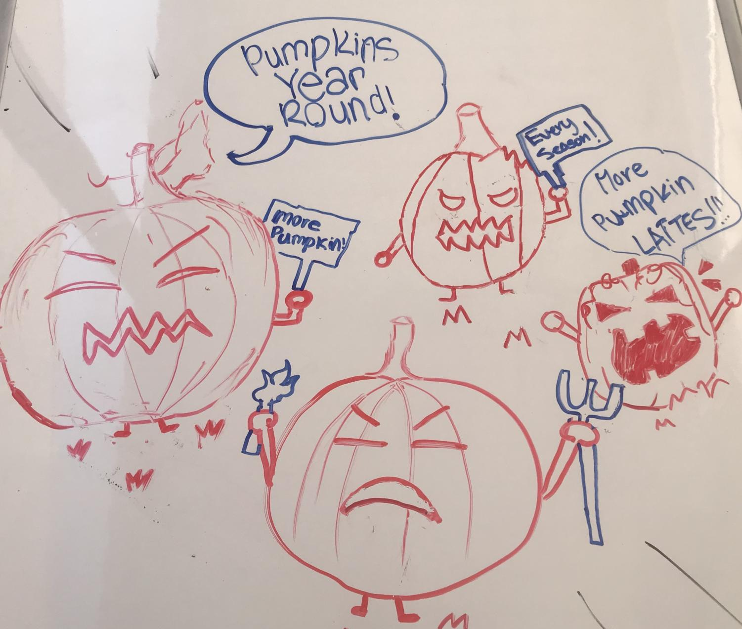 Pumpkins protest against the single season use of pumpkin products.