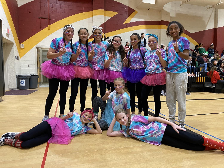 The+Weirdos+pose+after+winning+the+7th+Grade+Girls+Survivor+Ball+Tournament.