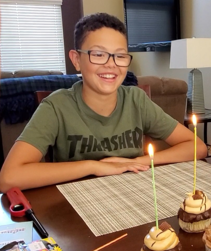 Karter H. on his 12th birthday two weeks before the aneurysm ruptured.